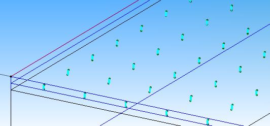 Fig. 2 シャワーヘッドをモデル化したフィラメントモデル(中央付近)